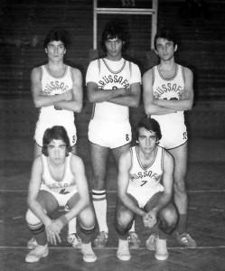 Daçka Lise Takımı-5, Aralık 1977 - Edirne Turnuvasında, (Ayaktakiler: İsmail, Tuğrul, Adnan, Oturanlar: Halit, Eşref)