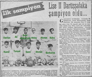 1965-1966 İst. Şampiyon sınıflar Şampiyonu Lise 2